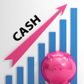 Cash Graph Shows Money Earnings And Savings — Stock Photo