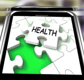Health Smartphone Shows Medical Wellness And Self Care — Stock Photo