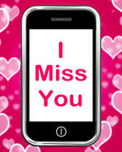 I Miss You On Phone Means Sad Longing Relationship — Stock Photo