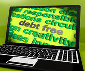 Debt Free Screen Shows Good Credit Or No Debt — Stock Photo