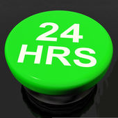 Twenty Four Hours Button Shows Open 24 hours — Stock Photo
