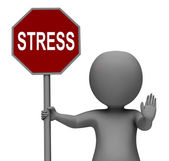 Stress Stop Sign Shows Stopping Tension And Pressure — Stock Photo