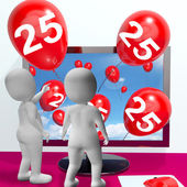 Number 25 Balloons from Monitor Show Online Invitation or Celebr — Stock Photo