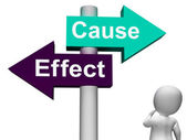 Cause Effect Signpost Means Consequence Action Or Reaction — Stock Photo