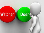 Watcher Doer Buttons Means Active Inactive Personality Type — Stock Photo