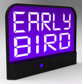 Early Bird Clock Shows Punctuality Or Ahead Of Schedule — Stock Photo