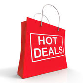 Hot Deals On Shopping Bags Shows Bargains Sale And Save — Stock Photo