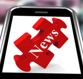 News Smartphone Means Web Headlines Or Bulletin — Stock Photo