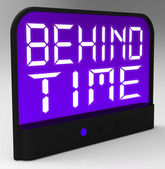 Behind Time Clock Shows Running Late Or Overdue — Stock Photo