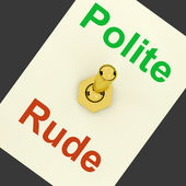 Polite Rude Lever Shows Manners And Disrespect — Stock Photo