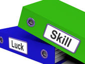 Skill And Luck Folders Show Expertise Or Chance — Stock Photo