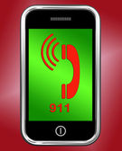 Nine One On Phone Shows Call Emergency Help Rescue 911 — Stock Photo