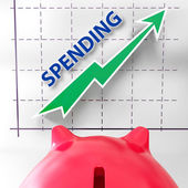 Spending Graph Means Rise In Outgoings And Costs — Stock Photo