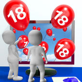 Number 18 Balloons from Monitor Show Online Invitation or Celebr — Stock Photo