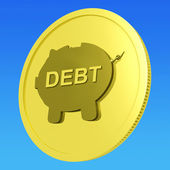 Debt Coin Means Money Borrowed And Owed — Stock Photo