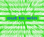 Out To Win Words Mean Positive Motivated And Proactive — Stock Photo