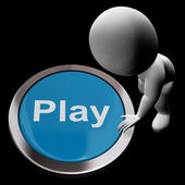 Play Button Means Games Entertainment And Fun — Stok fotoğraf