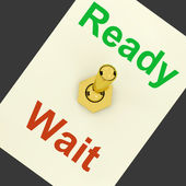 Ready Wait Lever Shows Preparedness And Delay — Stock Photo