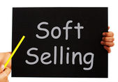 Soft Selling Blackboard Means Casual Advertising Technique — Stock Photo