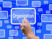 Organisation Touch Screen Shows Manage And Arrange — Stock Photo