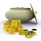 Pot Of Gold Means Money Or Luck — Stock Photo