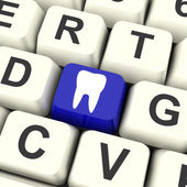 Tooth Key Means Dental Appointment Or Teeth — Stock Photo