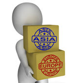 Europe Asia Import And Export Boxes Mean International Trade — Photo