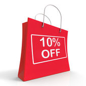 Shopping Bag Shows Sale Discount Ten Percent Off 10 — Stock Photo