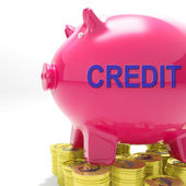 Credit Piggy Bank Means Financing From Creditors — Photo