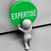 Expertise Button Means Skilled Specialist And Proficiency — Stock Photo