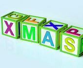 Xmas Blocks Show Merry Christmas And Festive Season — Stock Photo