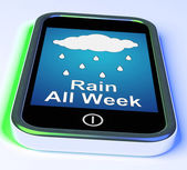 Rain All Week On Phone Shows Wet  Miserable Weather — Stock Photo