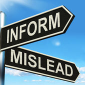 Inform Mislead Signpost Means Advise Or Misinform — Stock Photo