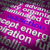 Addiction Word Cloud Means Obsession Craving And Attachment — Stock Photo