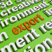 Export In Word Cloud Means Sell Overseas Or Trade — Stock Photo