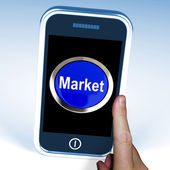 Market On Phone Means Marketing Advertising Sales — Stock Photo