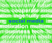 Social Media Words Mean Online Networking Blogging And Comments — Stockfoto
