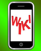 Wiki On Phone Shows Online Information Knowledge Or Encyclopaedi — Stock Photo