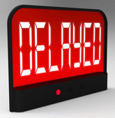 Delayed Clock Shows Postponed Or Running Late — 图库照片