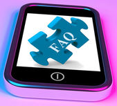 FAQ Smartphone Shows Frequently Asked Questions And Answers — Stock Photo