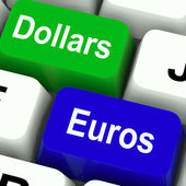 Dollar And Euros Keys Mean Foreign Currency Exchange Online — Stock Photo
