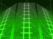 Green Binary Circuit Background Shows Matrix Or Computer Program — Stock Photo