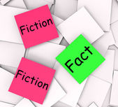 Fact Fiction Post-It Notes Mean Correct Or Falsehood — Stock Photo