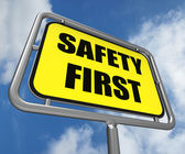 Safety First Sign Indicates Prevention Preparedness and Security — Stock Photo