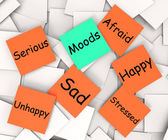 Moods Post-It Note Means Emotions And Feelings — Stock Photo