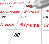 Stress Calendar Means Pressure Strain And Burden — Stock Photo
