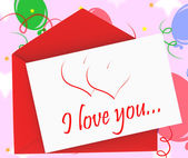 I Love You On Envelope Shows Anniversary Card — Stock Photo