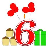 Number Six Candle Means Festive Occasion Or Decorated Celebratio — Stock Photo