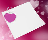 Heart Clip On Note Means Valentines Card Or Romantic Letter — Stockfoto