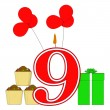 Number Nine Candle Shows Party Decorating Or Birthday Celebratin — Stock Photo #45477919